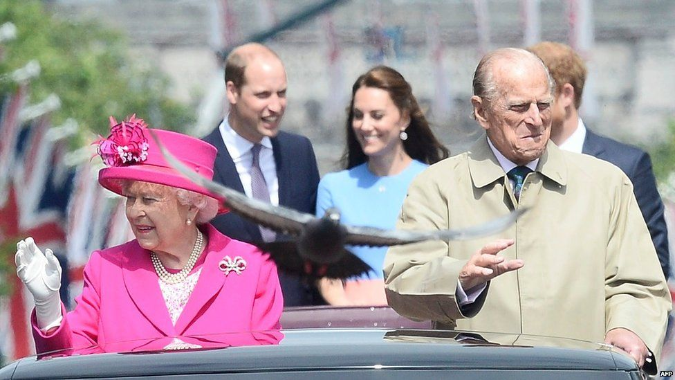 The Queen and Duke and Edinburgh with Prince William, Catherine and Prince Harry behind