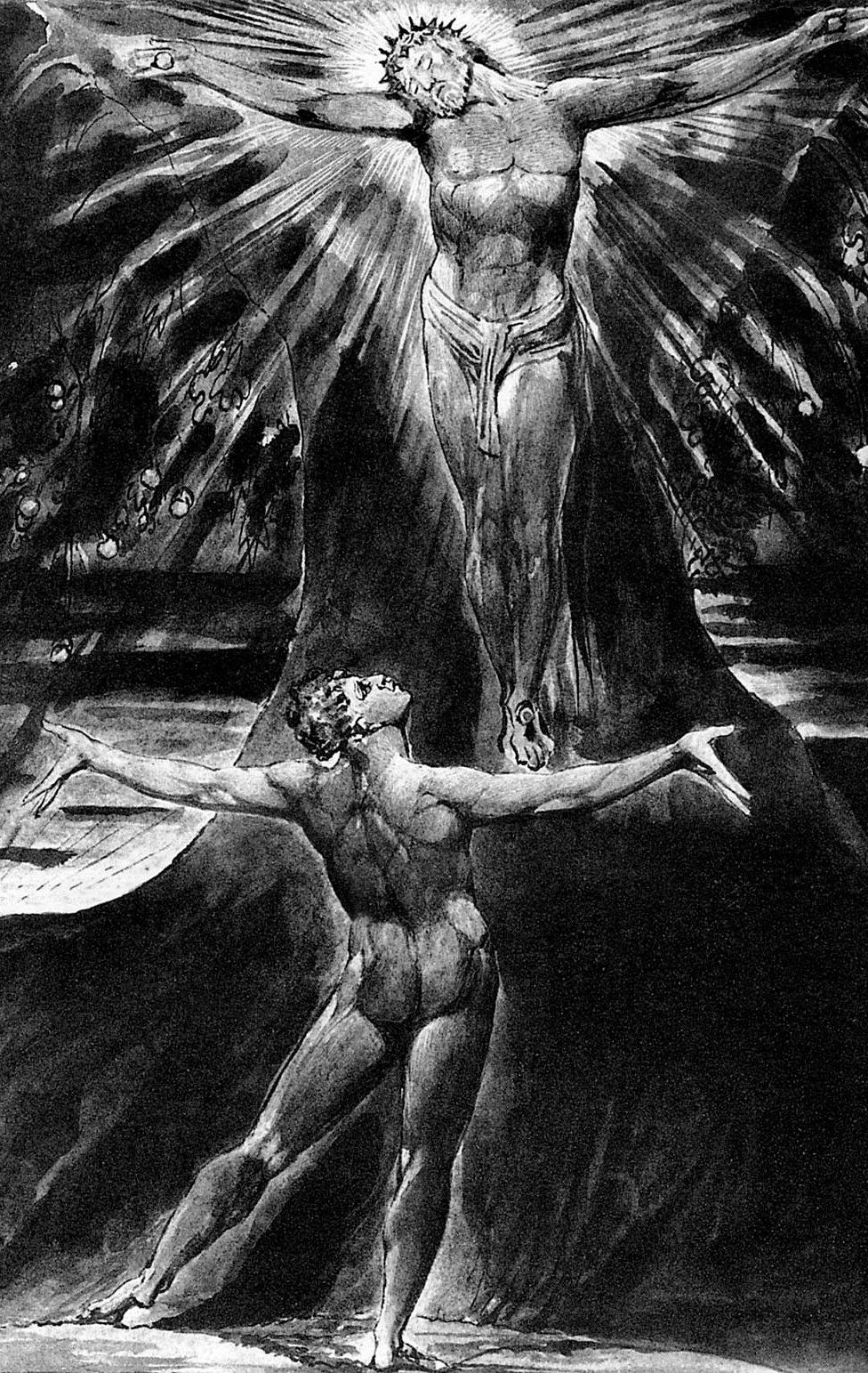 Albion contemplating Jesus crucified in William Blake's engraved poem Jerusalem