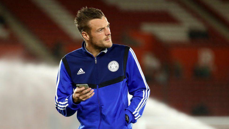 Jamie Vardy on the phone
