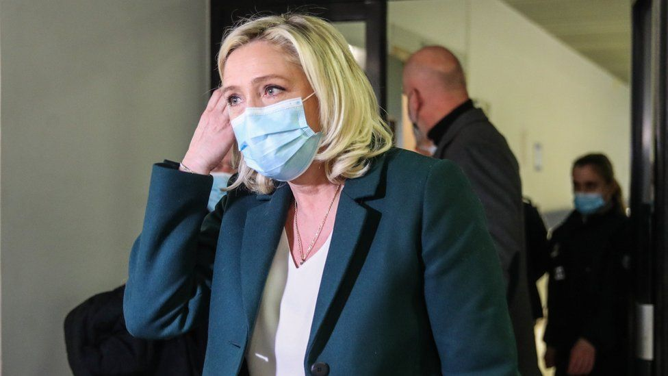 French member of Parliament and president of the Rassemblement National far-right party Marine Le Pen outside court on 10 February