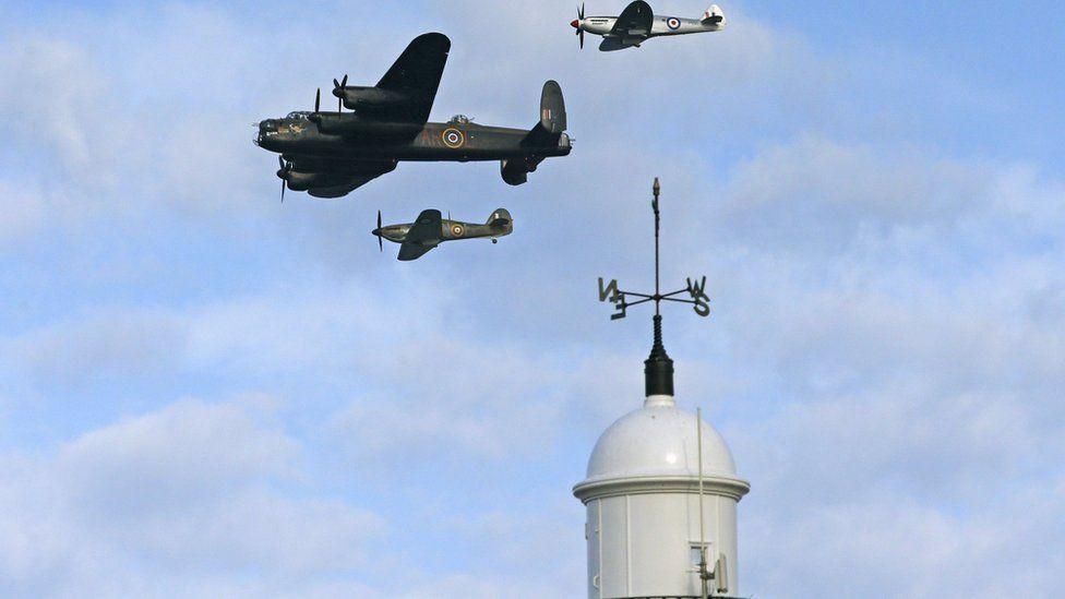 Lancaster Bomber and Spitfire at Sunderland Airshow