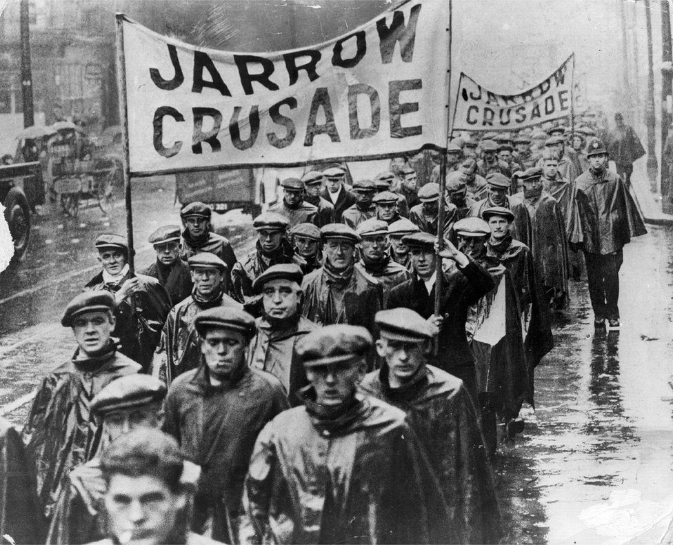 The 1936 month-long walk saw hundreds march from of Jarrow on Tyneside to London to protest to Parliament against unemployment