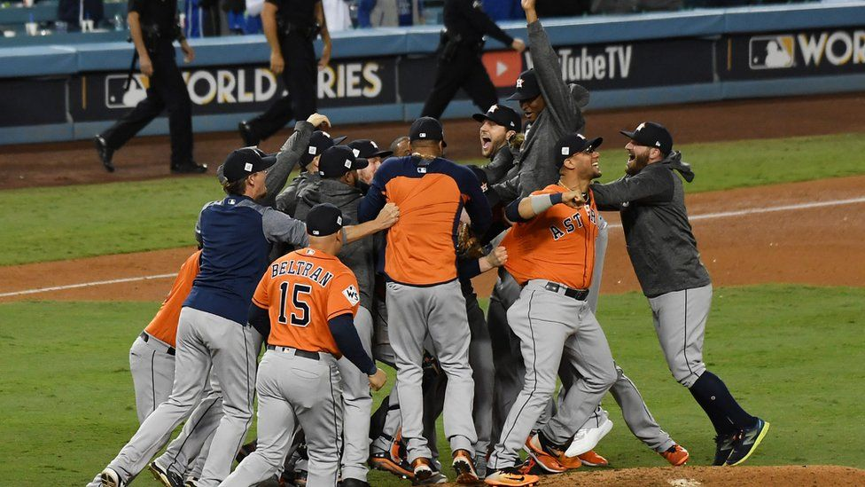The Houston Astros players celebrate their win over the Los Angeles Dodgers to clinch the World Series title