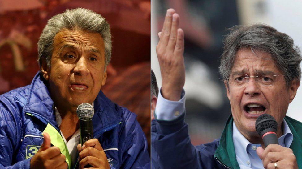 A composite picture of Ecuadorean presidential candidates Lenin Moreno and Guillermo Lasso