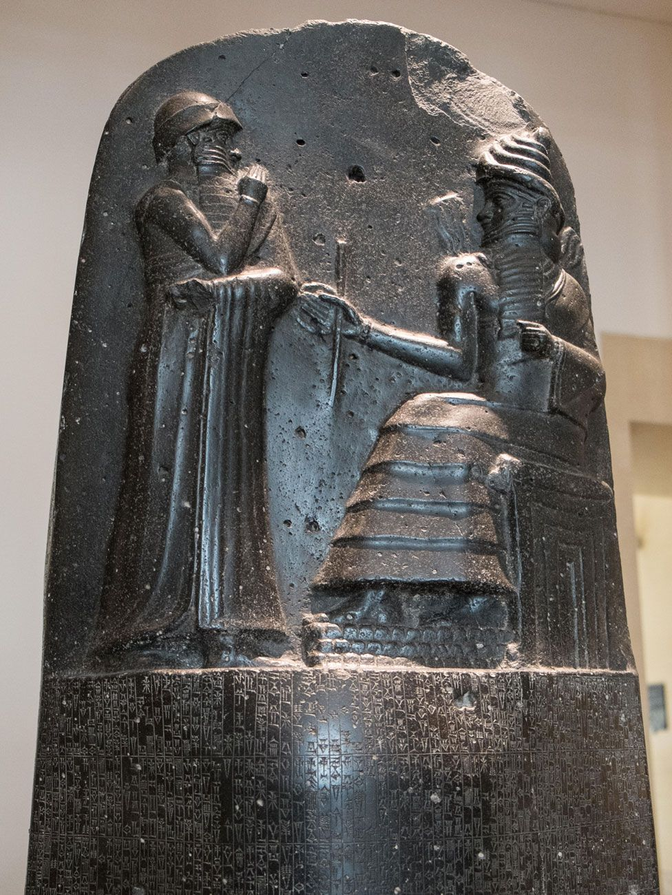 The Code of Hammurabi inscribed on a seven and a half foot stone stele