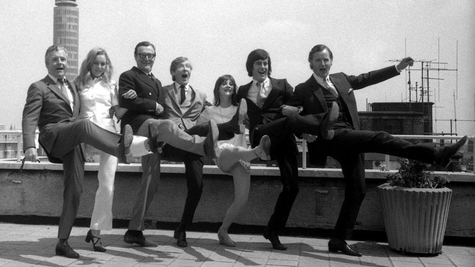 Parsons (right) with other stars of BBC Radio 4 at the station's 1971 summer programme announcement