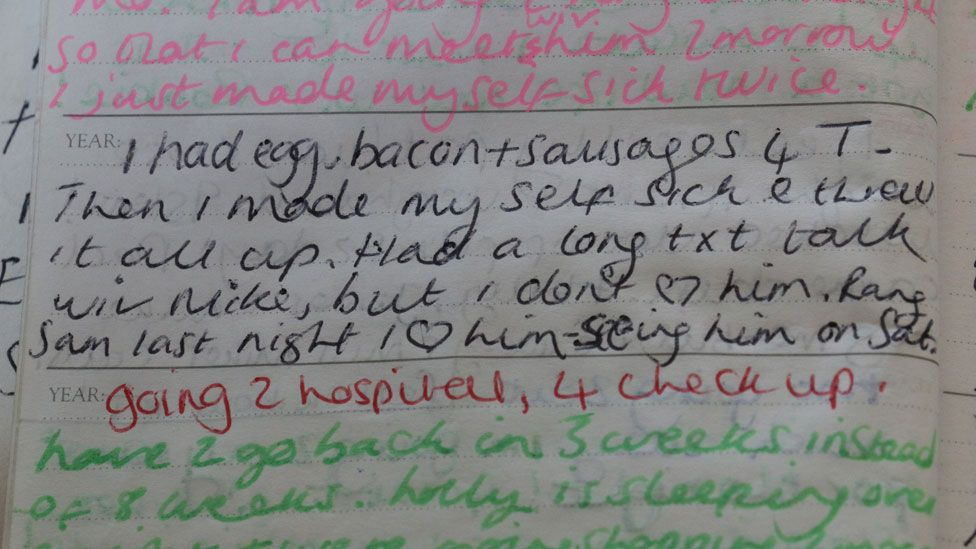 Diary extract: I had a bacon and sausges for tea then I made myself sick and threw it all up