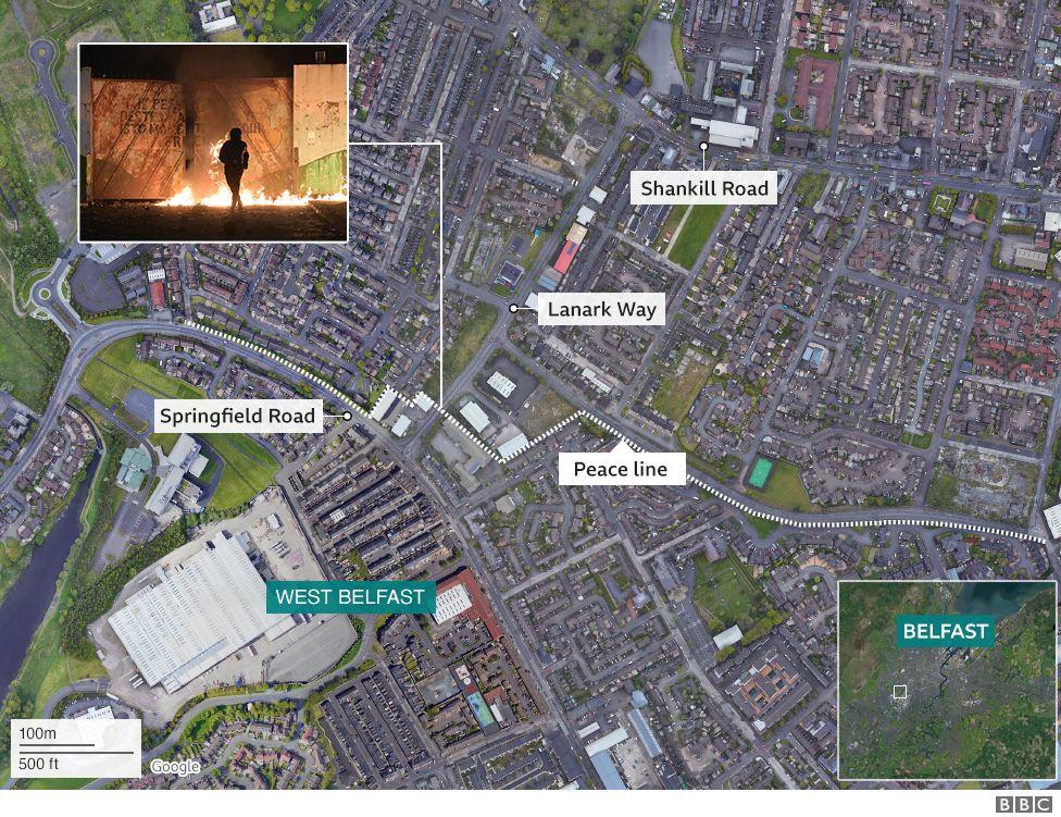 Map of west Belfast riots