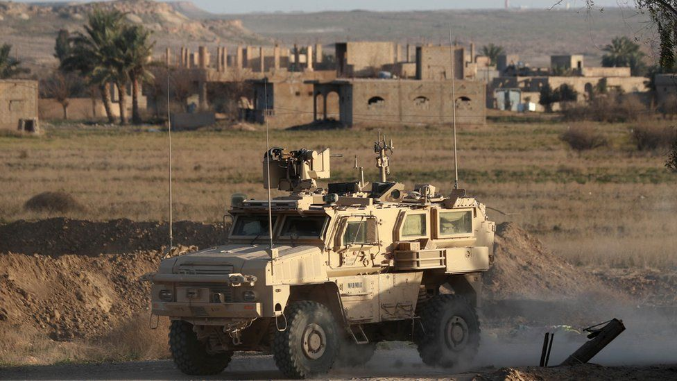 A US jeep in Baghuz, Syria