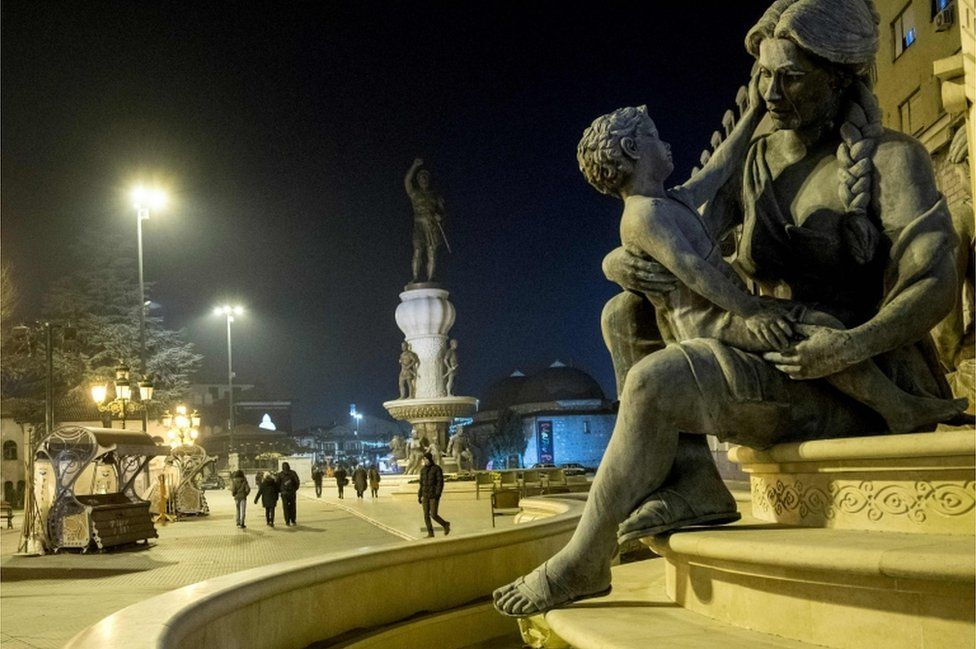 A picture taken on 18 January 2018 shows a statue of Olympia, the mother of Alexander the Great, at a fountain in Skopje.