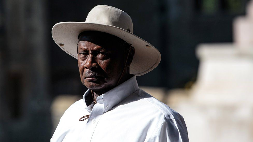 President of Uganda Yoweri Museveni arrives at Windsor Castle for a retreat with other Commonwealth leaders on the final day of the 'Commonwealth Heads of Government Meeting' (CHOGM) on April 20, 2018 in Windsor, England.
