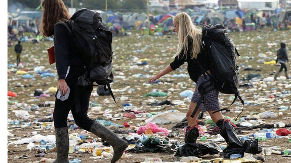 Festival-goers leaving