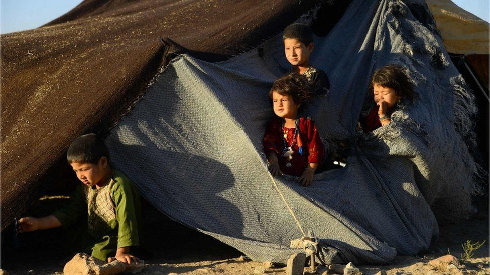 In this photo taken on August 5, 2018, drought-displaced Afghan children look on from their tent at a camp for internally displaced people in Injil district of Herat province.