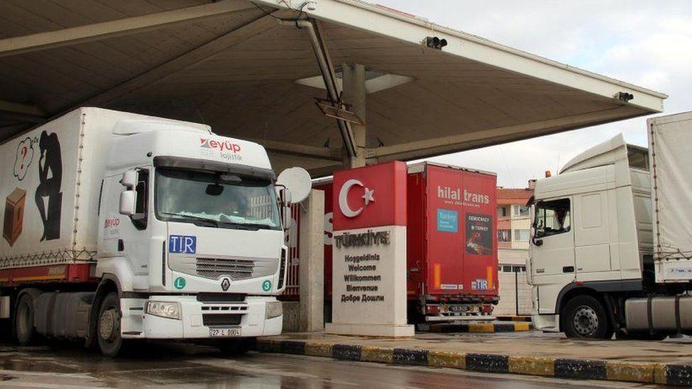 Lorries at a customs post at the Turkey-Bulgaria border