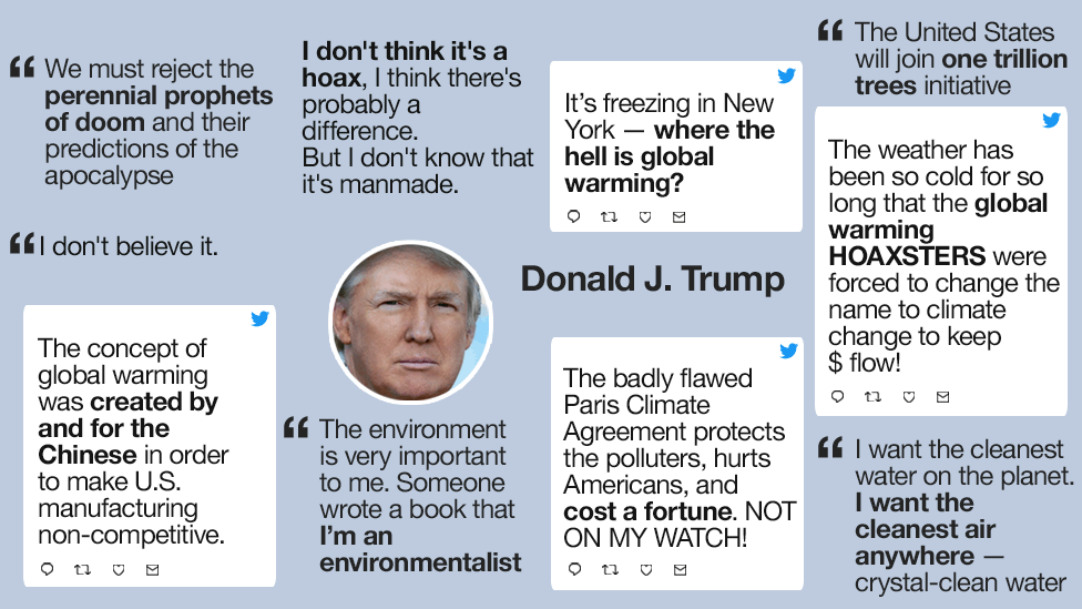 Graphic showing a collection of quotes Donald Trump has made on climate change