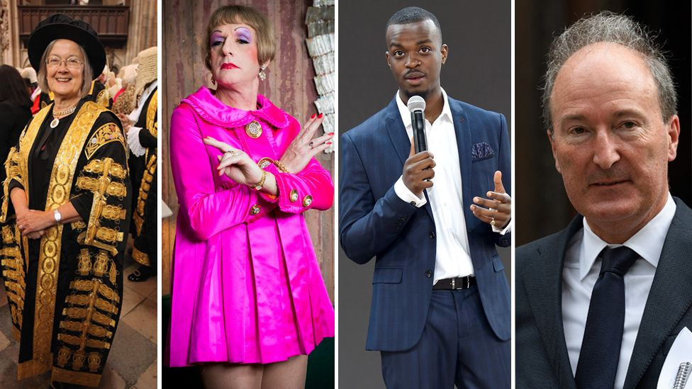 (L-R) Baroness Hale of Richmond, Grayson Perry, George the Poet and Charles Moore