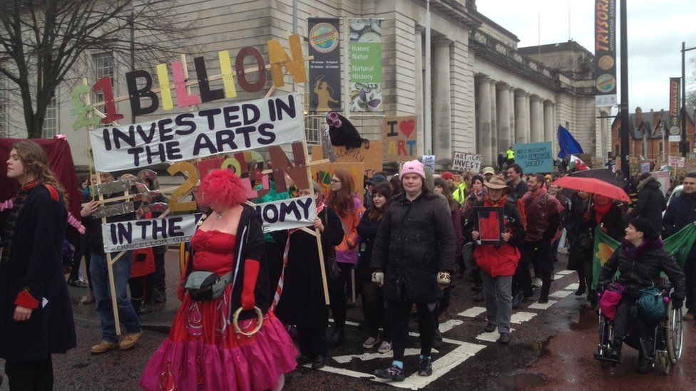 Arts demonstration in Cardiff