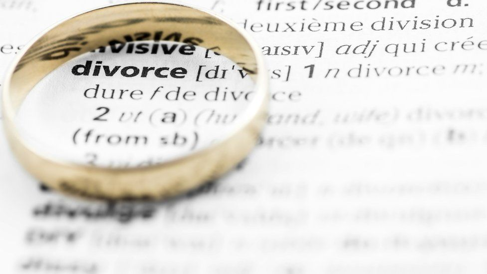Wedding ring circling the word divorce
