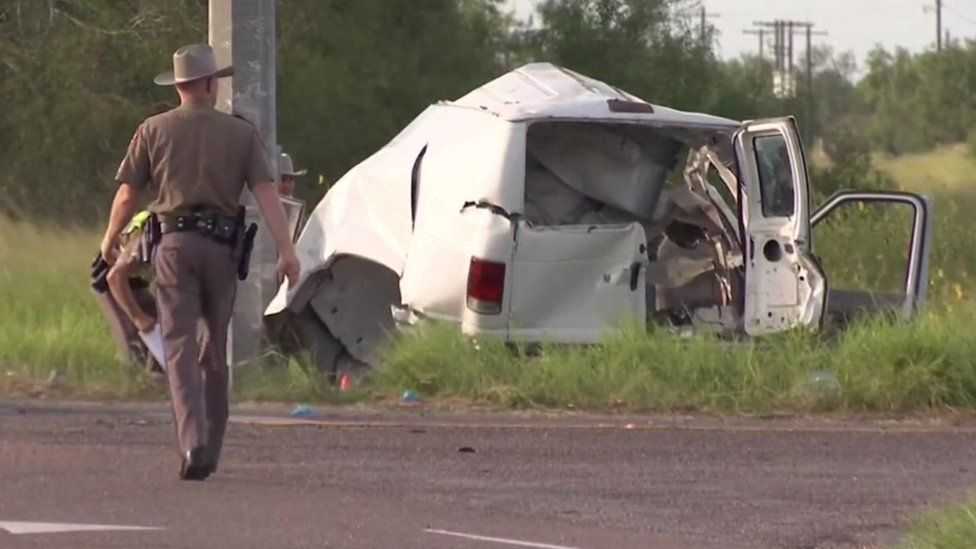A van reported to be carrying migrants which crashed in Texas, 5 August 2021