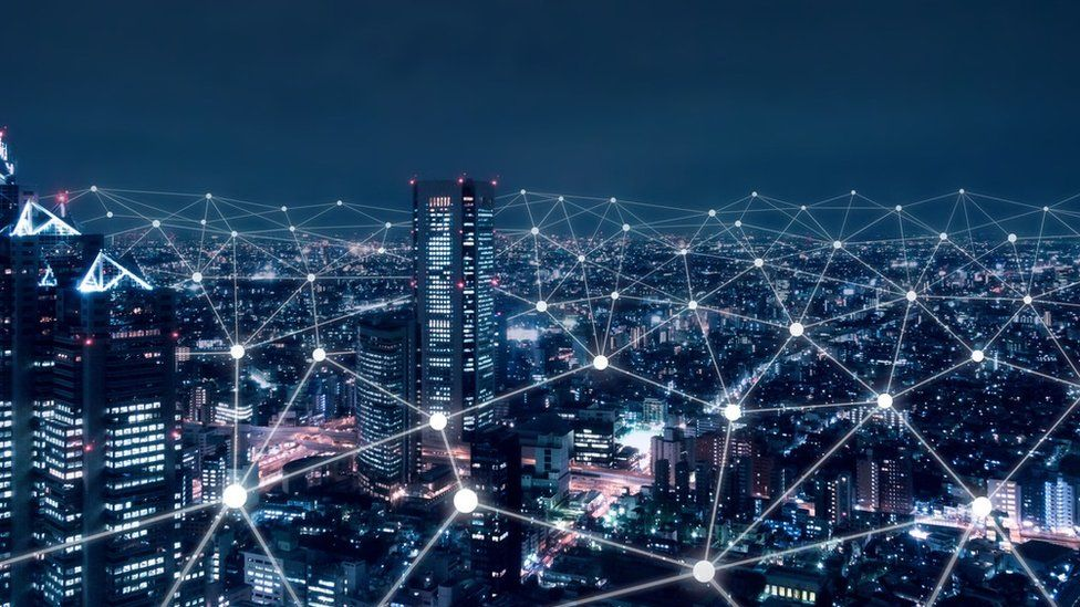 Cityscape with connected nodes