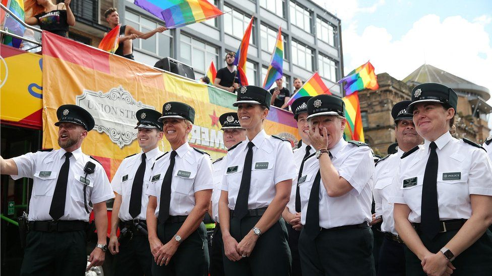 PSNI and Gardai officers marched in the parade in uniform for the first time
