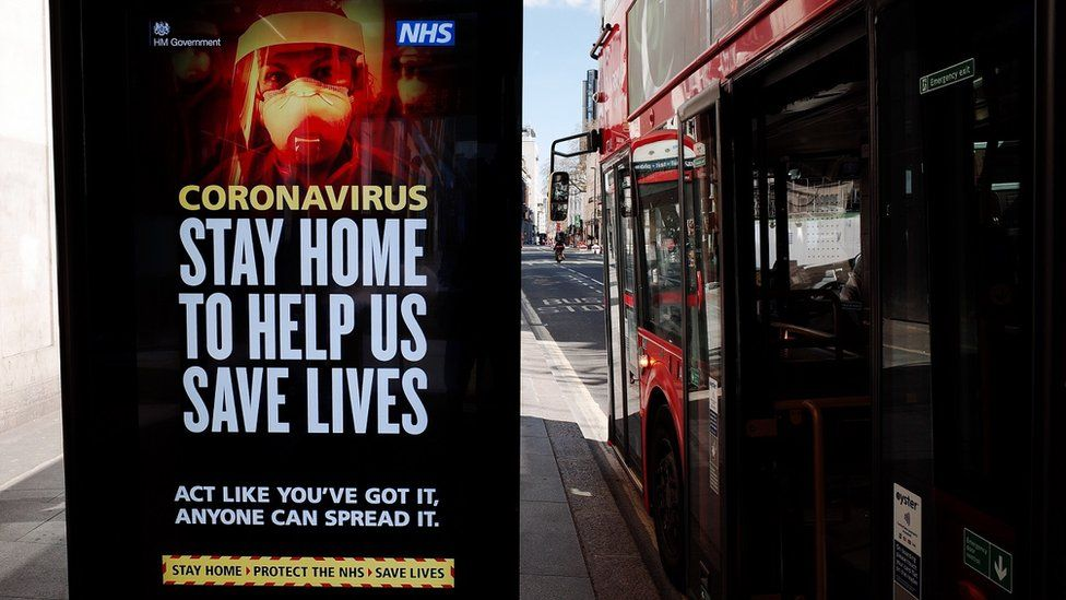 A government coronavirus advert at a bus stop