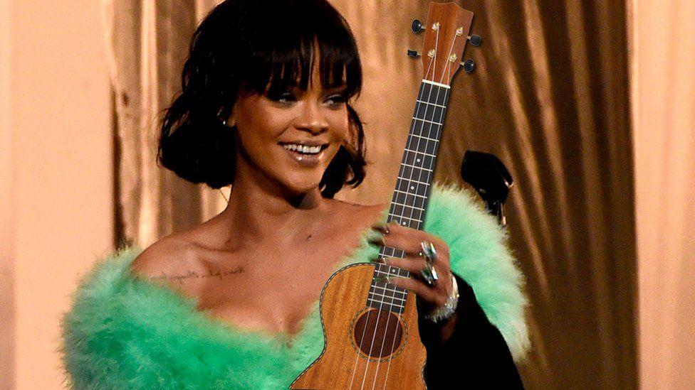 Rihanna and a ukulele