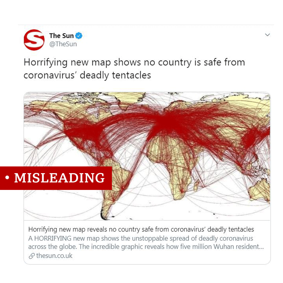 """A screenshot of Tweet by the Sun Newspaper about the map. Headline reads: """"Horrifying new map shows no country is safe from coronavirus' deadly tentacles."""""""