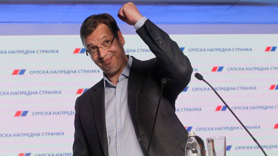 Aleksandar Vucic gestures during a press conference at the SNS party headquarters in Belgrade, Serbia (24 April 2016)