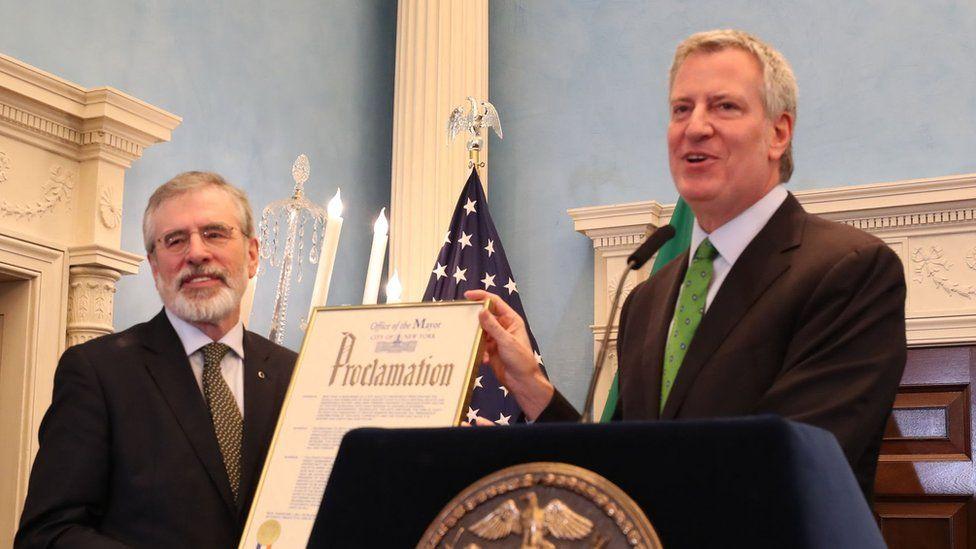 Gerry Adams (left) with New York City Mayor Bill de Blasio