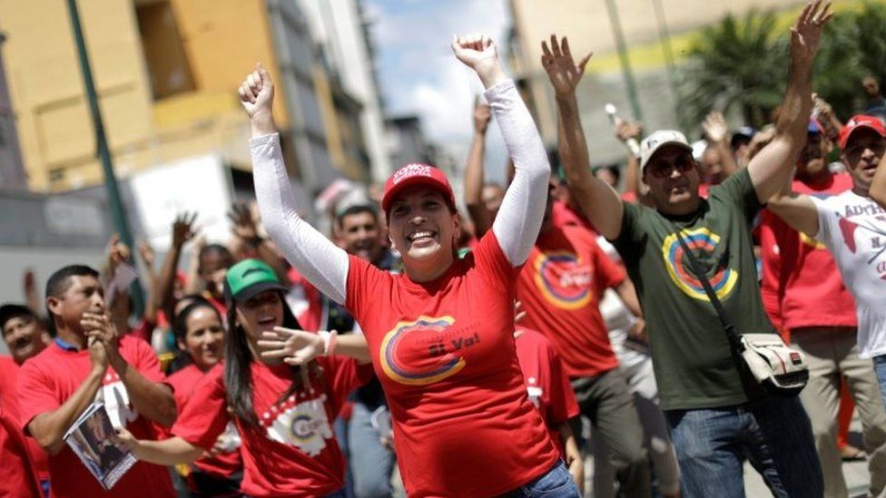 Supporters of Venezuelan President Nicolas Maduro celebrate during a rally in favour of the National Constituent Assembly in Caracas, Venezuela, July 24, 2017.