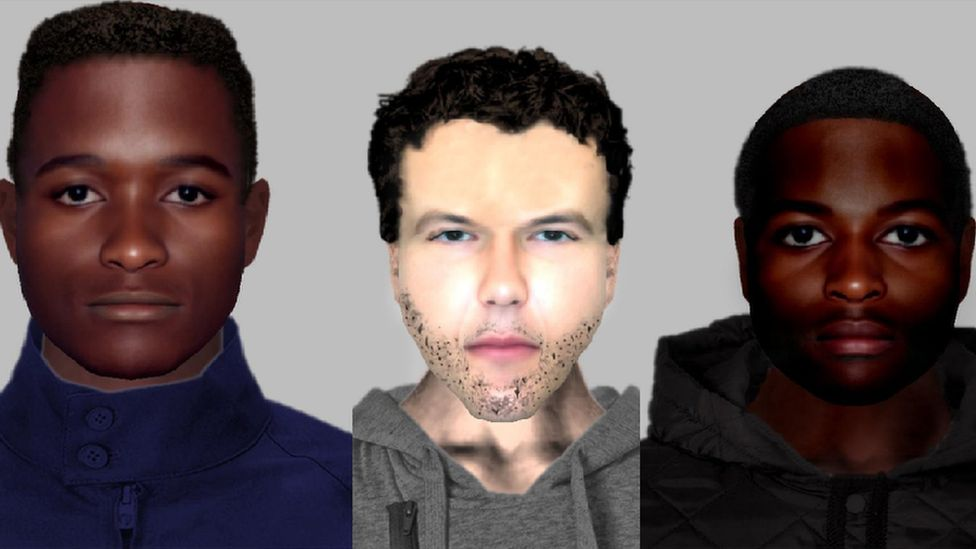 E-fit images of three men wanted for Bitcoin robbery