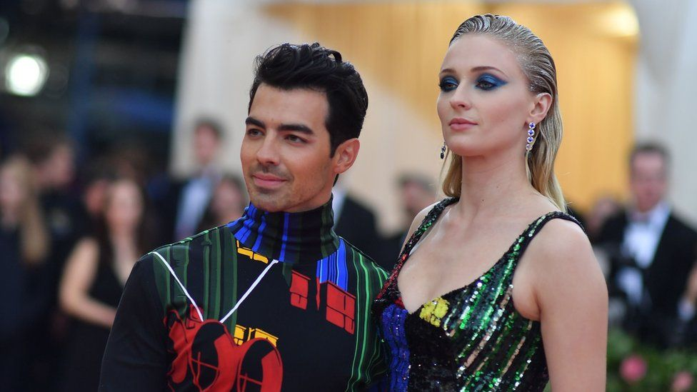 British actress Sophie Turner and husband musician Joe Jonas arrive for the 2019 Met Gala at the Metropolitan Museum of Art on May 6, 2019, in New York