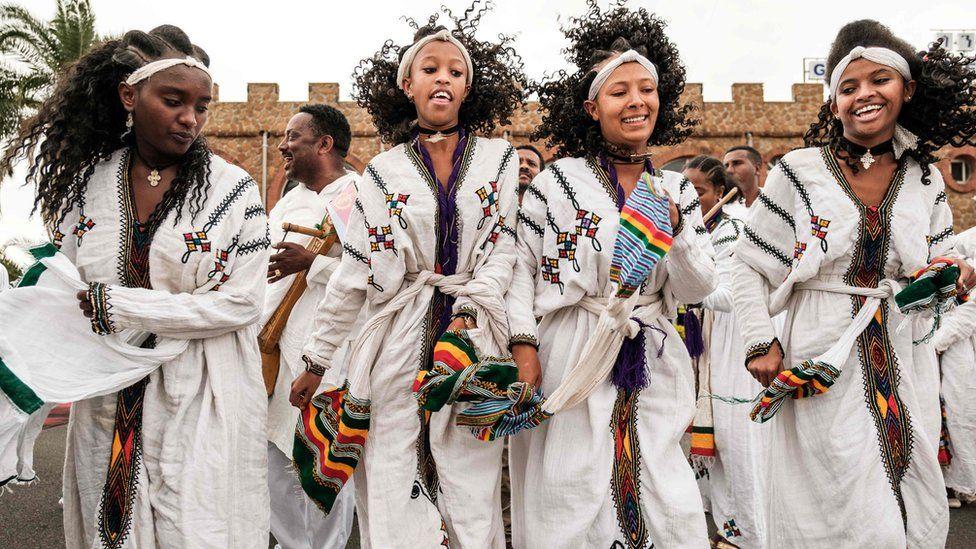 Dancers at the airport in Gondar, Ethiopia - Friday 9 November 2018