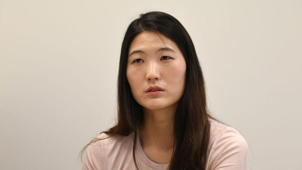 Former South Korean tennis player Kim Eun-hee speaking during an interview with AFP in Seoul