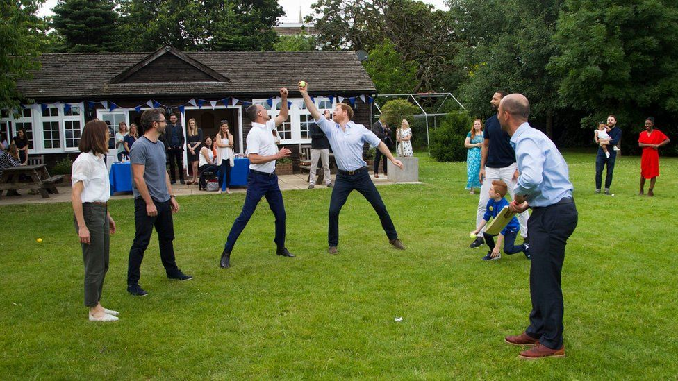 (left to right) Victoria Pendleton, Scott Gardner, Mark Saxby, Prince Harry, Rio Ferdinand and Jonathan Trott playing French Cricket