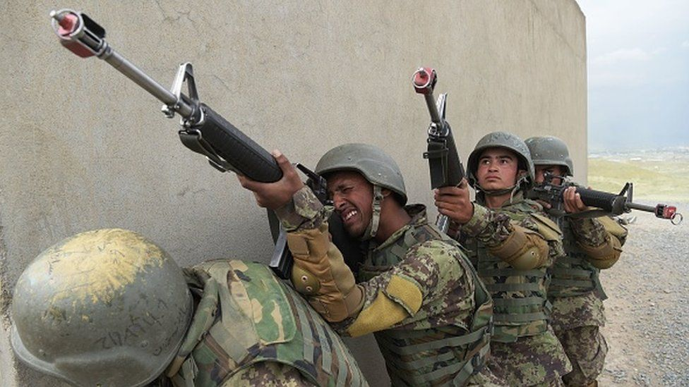 Afghan National Army soldiers train at the Kabul Military training centre