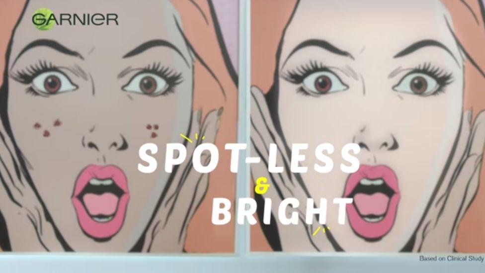Screenshot of advert for Garnier lightening product