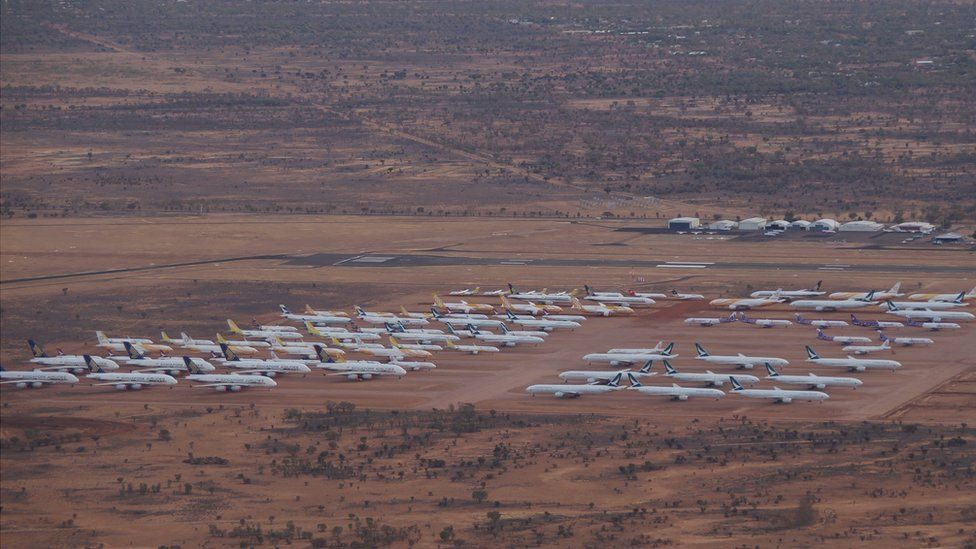 Aircraft in storage at APAS in Alice Springs.