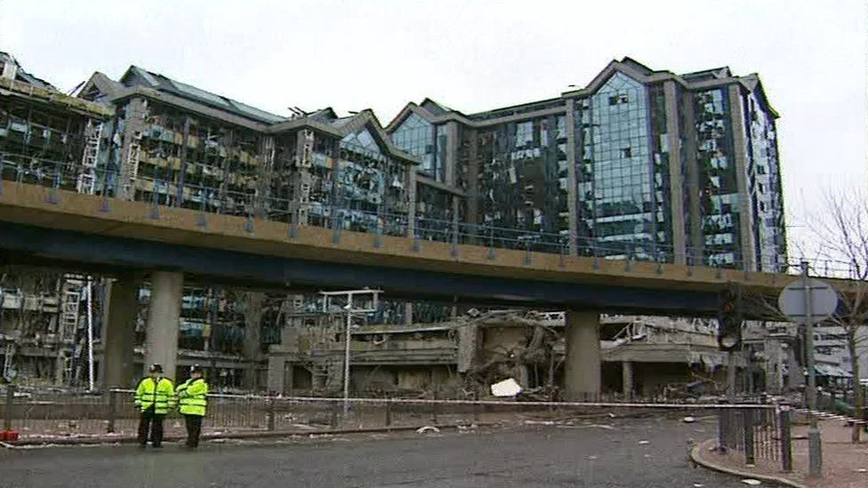 Hundreds of people were injured by flying glass in the aftermath of the explosion