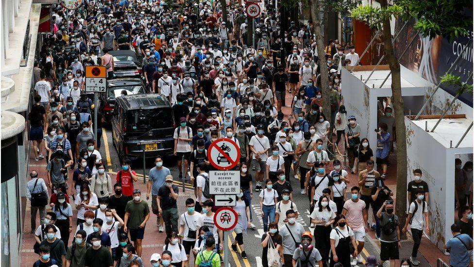 Anti-national security law protesters march at the anniversary of Hong Kong's handover to China from Britain, in Hong Kong, China July 1, 2020
