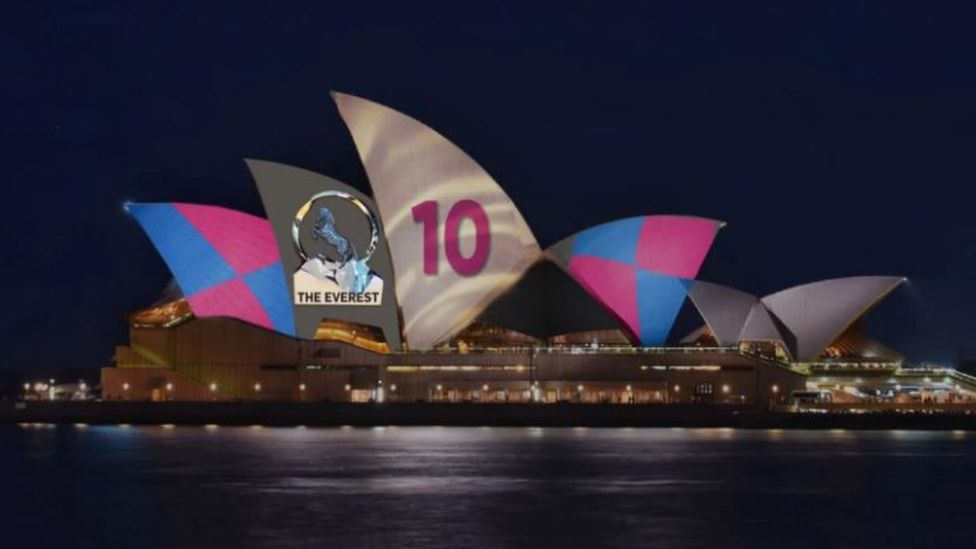 """The revised horse race ad for the Sydney Opera House, showing a logo for """"The Everest"""" and jockey colours"""