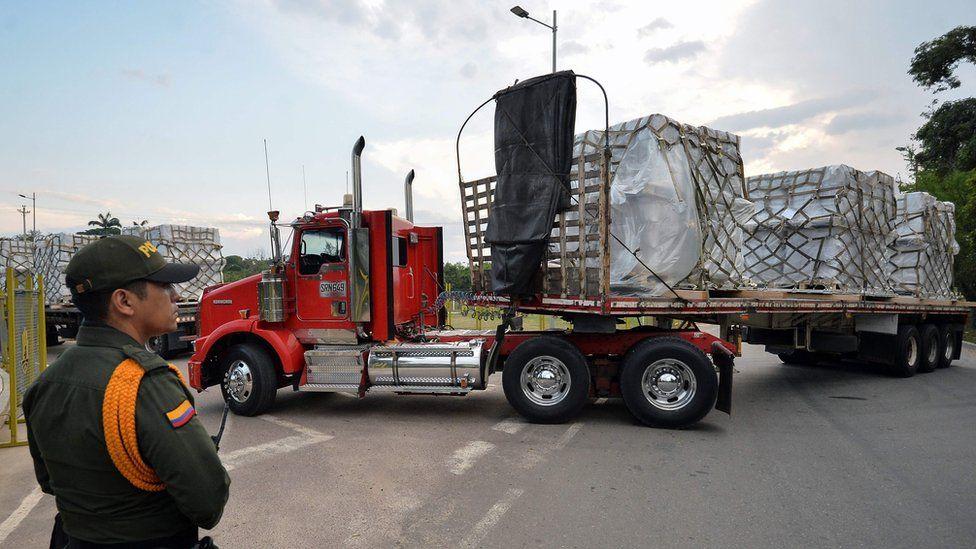 Aid lorries waiting in Cucuta