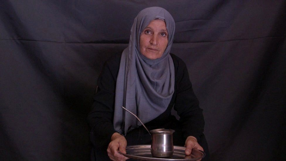 Kawther Jahwani with her coffee pot