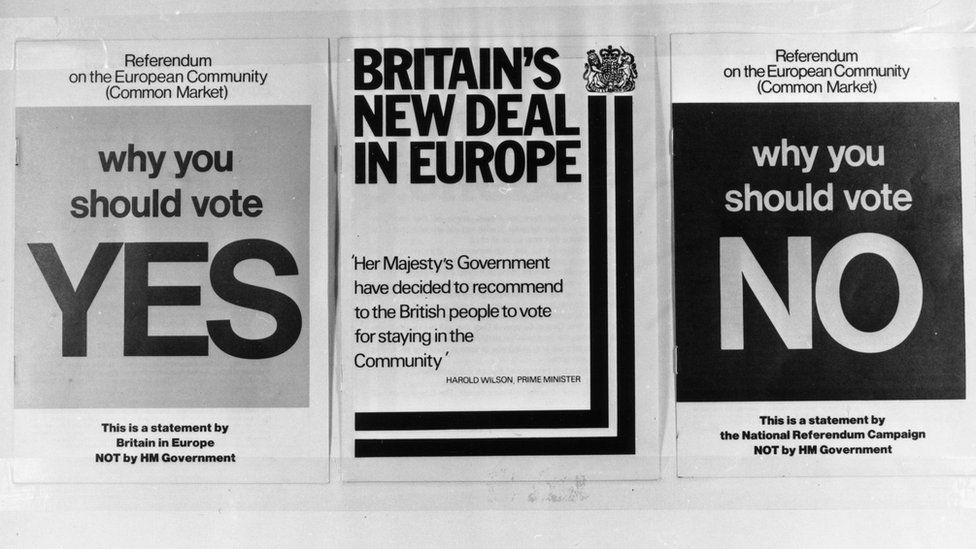 Three documents, for and against, published for the referendum on the Common Market