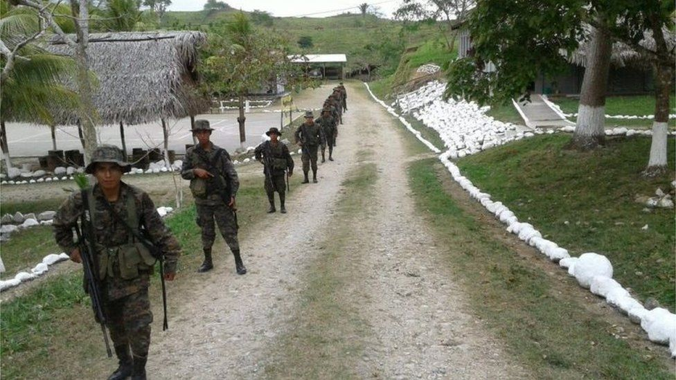 Guatemalan soldiers patrol near the border with Belize. Photo: 21 April 2016