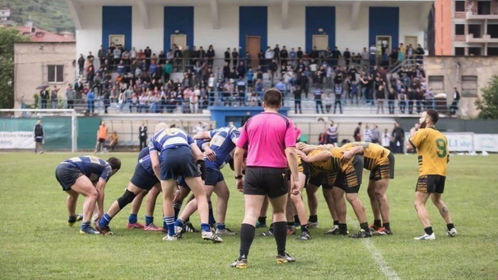 KR Tirana in action (in blue and white)