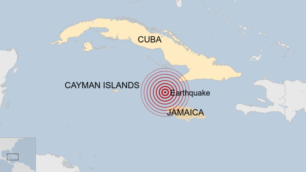 A map showing where an earthquake struck in the Caribbean