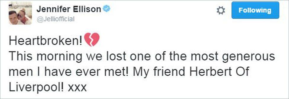 Jennifer Ellison tweet