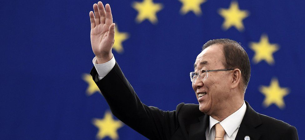 UN Secretary General Ban Ki-moon arrives to take part in a voting session on the UN Climate Change agreement struck in Paris last year at the European Parliament in Strasbourg, eastern France, 4 October 2016